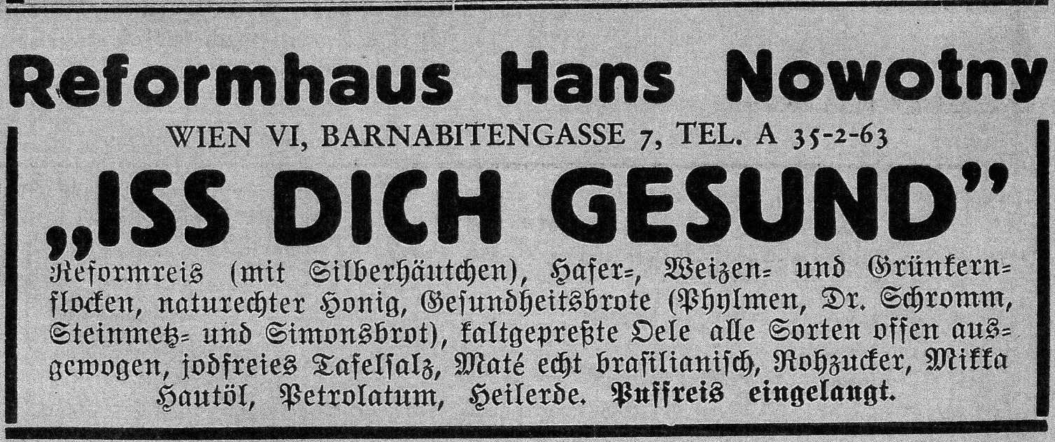Inserat aus: Nachrichtenblatt des Ersten Naturheilvereins Wien 1938