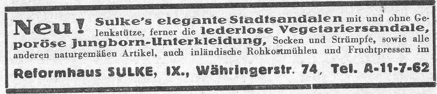 Inserat aus: Naturheilzeitung 1932