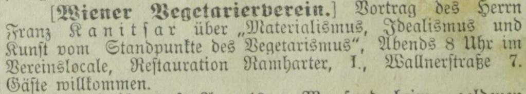 Ankündigung eines Vortrags, aus: Deutsches Volksblatt, 5.3.1896: 20